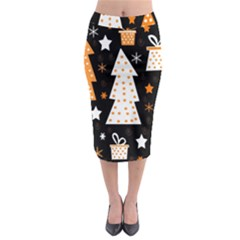 Orange playful Xmas Midi Pencil Skirt