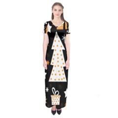 Orange playful Xmas Short Sleeve Maxi Dress