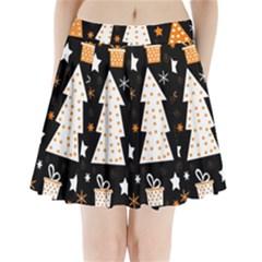 Orange playful Xmas Pleated Mini Skirt