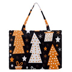 Orange playful Xmas Medium Zipper Tote Bag