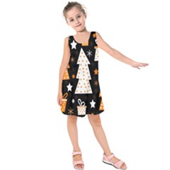 Orange playful Xmas Kids  Sleeveless Dress