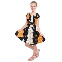 Orange playful Xmas Kids  Short Sleeve Dress