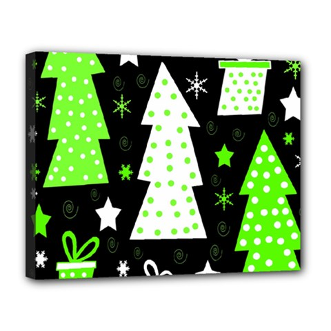 Green Playful Xmas Canvas 14  x 11