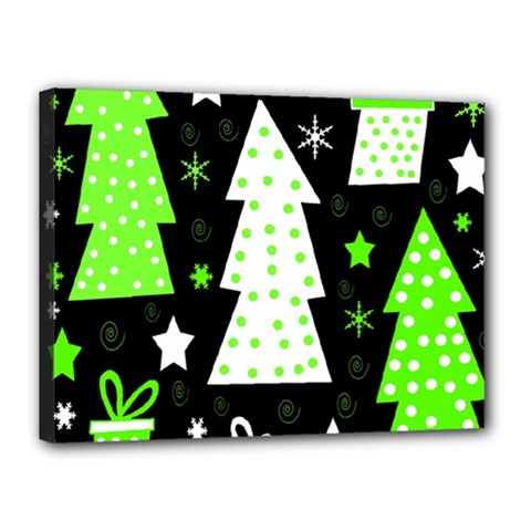 Green Playful Xmas Canvas 16  x 12