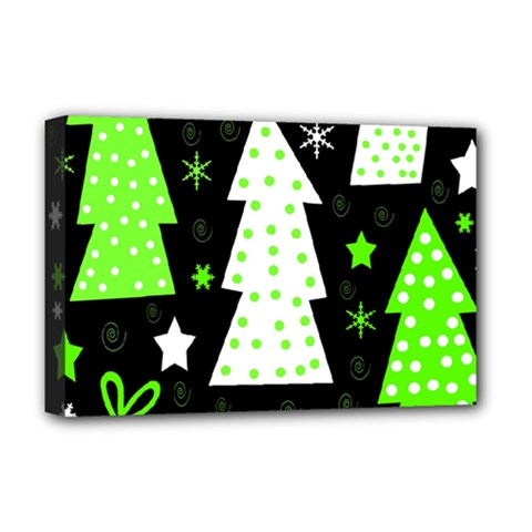 Green Playful Xmas Deluxe Canvas 18  x 12