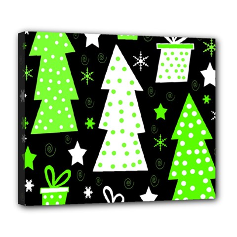 Green Playful Xmas Deluxe Canvas 24  x 20