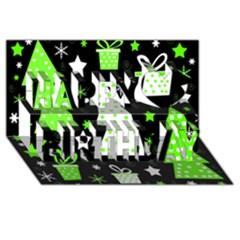 Green Playful Xmas Happy Birthday 3D Greeting Card (8x4)