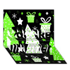 Green Playful Xmas YOU ARE INVITED 3D Greeting Card (7x5)