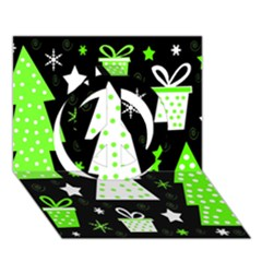 Green Playful Xmas Peace Sign 3D Greeting Card (7x5)