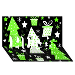 Green Playful Xmas HUGS 3D Greeting Card (8x4)