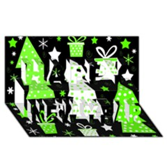 Green Playful Xmas Happy New Year 3D Greeting Card (8x4)