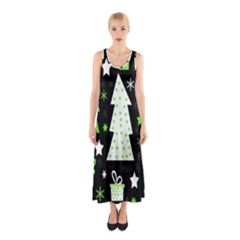 Green Playful Xmas Sleeveless Maxi Dress