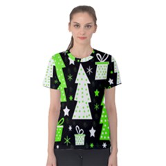 Green Playful Xmas Women s Cotton Tee