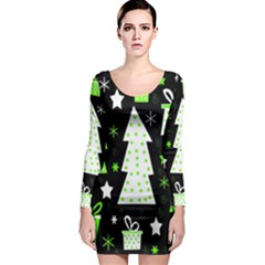 Green Playful Xmas Long Sleeve Bodycon Dress