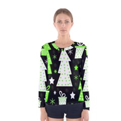 Green Playful Xmas Women s Long Sleeve Tee