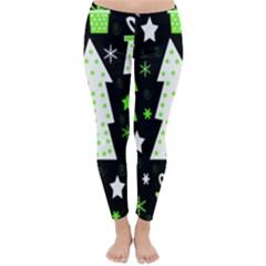 Green Playful Xmas Classic Winter Leggings