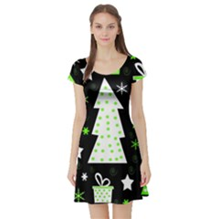 Green Playful Xmas Short Sleeve Skater Dress