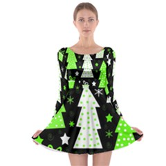 Green Playful Xmas Long Sleeve Skater Dress