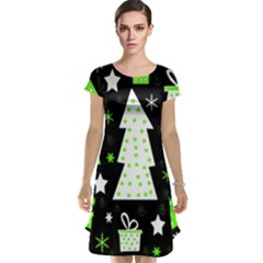 Green Playful Xmas Cap Sleeve Nightdress