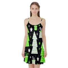 Green Playful Xmas Satin Night Slip