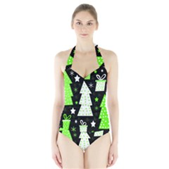 Green Playful Xmas Halter Swimsuit