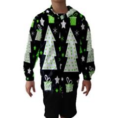 Green Playful Xmas Hooded Wind Breaker (Kids)