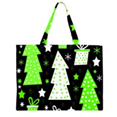 Green Playful Xmas Large Tote Bag
