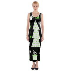 Green Playful Xmas Fitted Maxi Dress