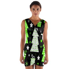 Green Playful Xmas Wrap Front Bodycon Dress
