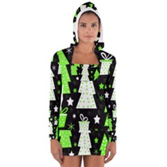 Green Playful Xmas Women s Long Sleeve Hooded T-shirt