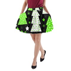 Green Playful Xmas A-Line Pocket Skirt