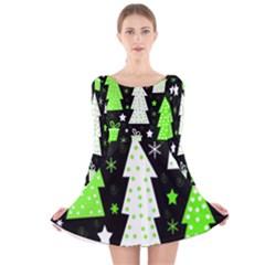 Green Playful Xmas Long Sleeve Velvet Skater Dress