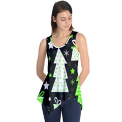 Green Playful Xmas Sleeveless Tunic