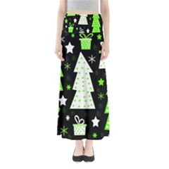 Green Playful Xmas Maxi Skirts
