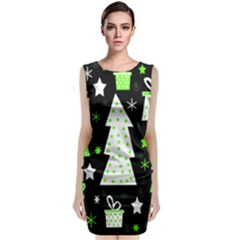Green Playful Xmas Classic Sleeveless Midi Dress