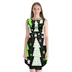 Green Playful Xmas Sleeveless Chiffon Dress