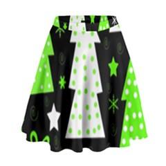 Green Playful Xmas High Waist Skirt