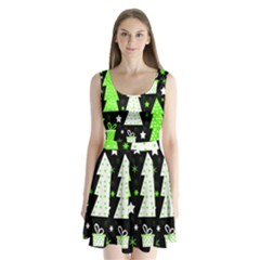 Green Playful Xmas Split Back Mini Dress