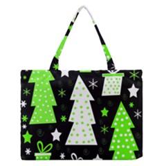 Green Playful Xmas Medium Zipper Tote Bag