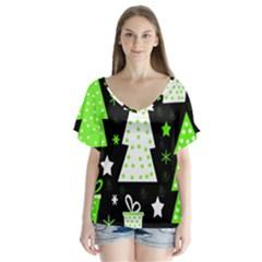Green Playful Xmas Flutter Sleeve Top