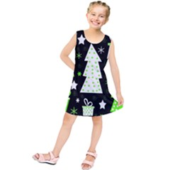 Green Playful Xmas Kids  Tunic Dress