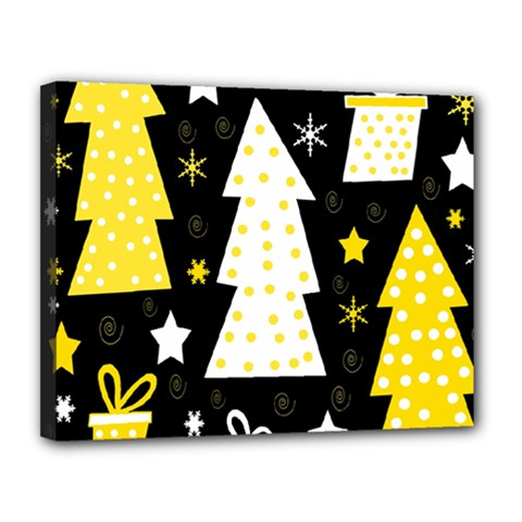 Yellow playful Xmas Canvas 14  x 11