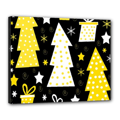 Yellow playful Xmas Canvas 20  x 16