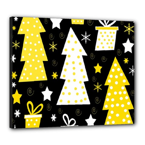 Yellow playful Xmas Canvas 24  x 20