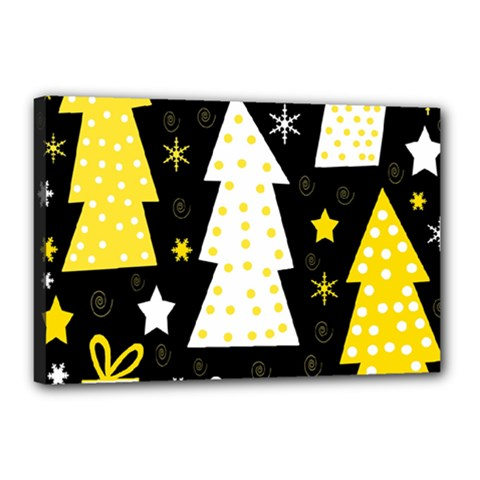 Yellow playful Xmas Canvas 18  x 12