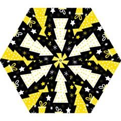 Yellow playful Xmas Mini Folding Umbrellas