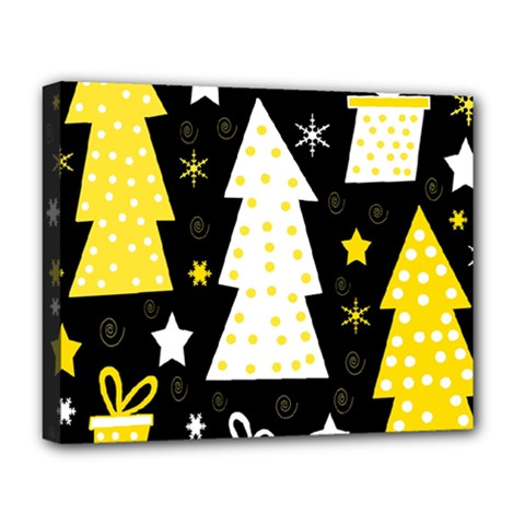 Yellow playful Xmas Deluxe Canvas 20  x 16