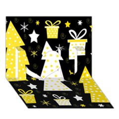 Yellow playful Xmas I Love You 3D Greeting Card (7x5)