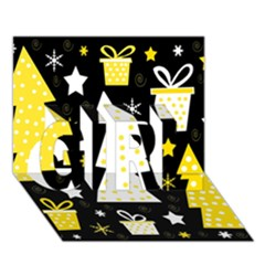 Yellow playful Xmas GIRL 3D Greeting Card (7x5)