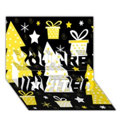 Yellow playful Xmas YOU ARE INVITED 3D Greeting Card (7x5)